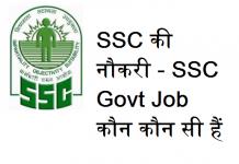 About SSC in Hindi - कर्मचारी चयन आयोग, SSC की नौकरी - SSC Govt Job कौन कौन सी हैं