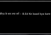 बीएड के बाद क्या करें - B.Ed Ke baad kya kare